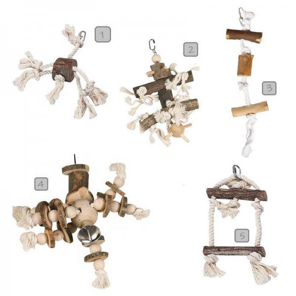 Vogelspielzeug Naturholz und Sisal